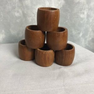 Other - Vintage wooden teak wood napkin rings set of 6